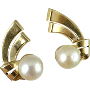 14K Gold Cultured Pearl Clip Earrings