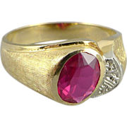 Men's 10K Gold Synthetic Ruby Ring