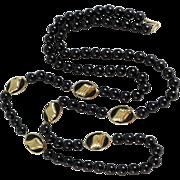 """14K Gold Black Onyx Necklace - 32"""""""