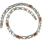 950 Sterling Silver Red Agate Necklace Collar Choker
