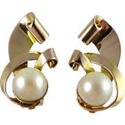 14K Retro Rose Gold & Cultured Pearl Earrings