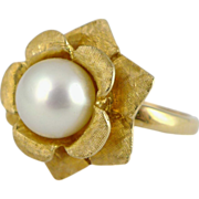 Vintage 14K Gold & Cultured Pearl Ring - Kimberly