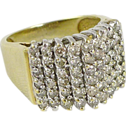 10K Gold Wide Diamond Band Ring - 1.6 Carats
