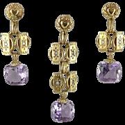 Antique European 14K Gold Amethyst Demi-Parure Earring & Pendant Set