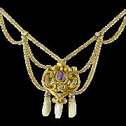 Antique Art Nouveau 10K Amethyst & Natural Pearl Festoon Necklace