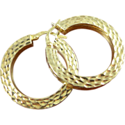 14K Gold Squared Hoop Earrings - Italy 585