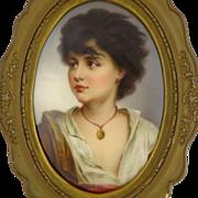 Antique Porcelain Portrait of a Young Neapolitan after Gustav Karl Richter