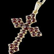 14k Gold Bohemian Garnet Cross Necklace - Religious