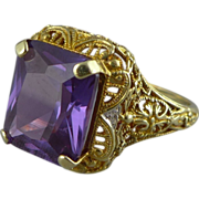 Color Change Sapphire Ring In 14K Gold Filigree Setting
