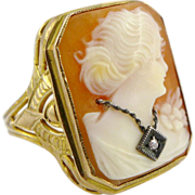 Art Deco 10K Yellow Gold Habille Shell Cameo Ring