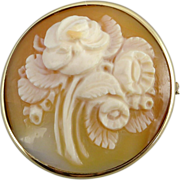 14K Gold Floral Carved Shell Cameo Brooch Pin/Pendant