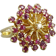 14k Gold Retro Ruby & Diamond Cocktail Ring