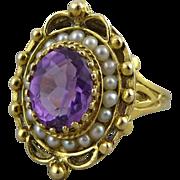 14K Gold Victorian Revival Amethyst & Split Seed Pearl Ring