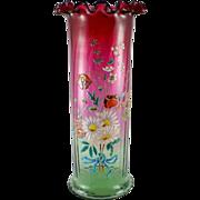 European Art Nouveau Rubina Verde Floral Polychrome Enamel Vase