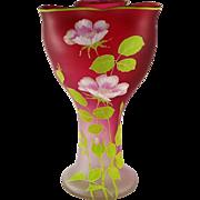 European Art Nouveau Rubina Satin / Frosted Glass Enameled Vase