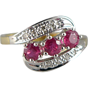 18K Gold Triple Ruby and Diamond Ring
