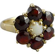 English 9ct Gold Garnet and Opal Ring