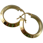 Vintage 18K Gold Beveled Hoop Earrings