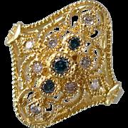 Estate 10K Gold Green Sapphire and Diamond Filigree Ring