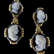 Victorian 10K Gold Hard Stone Cameo Earrings