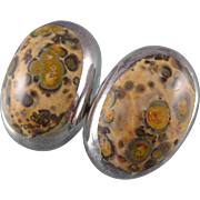 Mid-Century Sterling Leopard Skin Jasper Earrings - Mexico