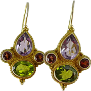 Vintage Sterling Vermeil Multi Gemstone Earrings - Amethyst, Peridot and Garnet