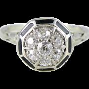 Art Deco 14K White Gold Diamond & Enamel Ring