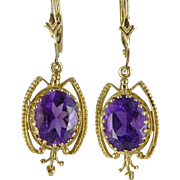 Vintage Victorian Revival 14K Gold and Amethyst Dangle Earrings