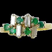 Mid-Century Modern 18K Gold Emerald and Diamond Ring