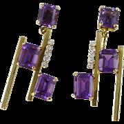 Mid Century Modern 14K Gold Amethyst & Diamond Earrings