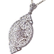 Art Deco 10K White Gold and Diamond Filigree Necklace / Pendant