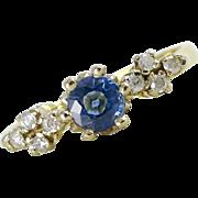 English 18CT Gold Iolite & Diamond Ring