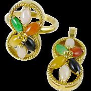 14K Gold Multi Color Jade Cluster Ring & Pendant Set