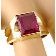 Art Deco 10K Gold Synthetic Ruby Ring - Unisex