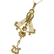 Antique Victorian Gold Diamond and Seed Pearl Lavaliere