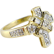 Vintage 14K Gold and Diamond Cross Ring - Religious