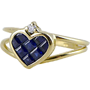 14K Gold Sapphire & Diamond Heart Shaped Ring