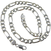 """Heavy 20"""" Sterling Silver Figaro Chain - Italy - Unisex"""