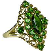 Vintage Estate 10K Gold Chrome Diopside Cluster Ring