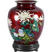SOLD Japanese Sato Cloisonne Vase with Silver Trim