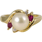 Vintage Cultured Pearl, Ruby & Diamond Ring Set in 14K Yellow Gold - SGS