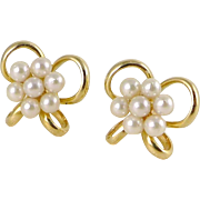Vintage 14K Gold Lustrous Cultured Pearl Cluster Bow Earrings