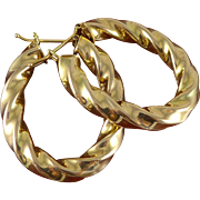 SOLD 14K Gold Large, Twisted Oval Hoop Earrings - Italy