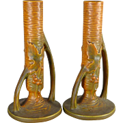 Pair of Roseville Bushberry Bud Vases in Russet / Orange Color 152 7 - c. 1940's
