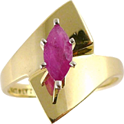 14K Gold Modernist Marquise Ruby Ring