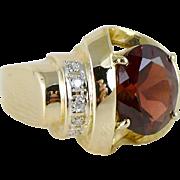 Art Deco Style Garnet & Diamond Ring Set in 14K Gold