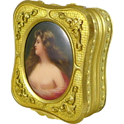 Gilded Trinket Box With Hand Painted Portrait of a Maiden - Signed