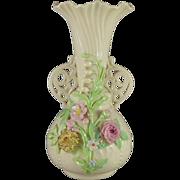 Vintage Belleek Princess Floral Vase 1946 - 1955 1st Green Mark