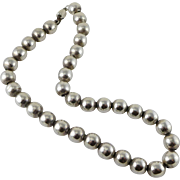Taxco Heavy Sterling Silver Beaded Necklace