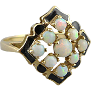 Art Deco 10K Gold Opal and Enamel Ring